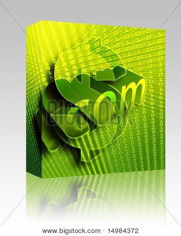Software package box dotCom background, with us dollar currency illustration