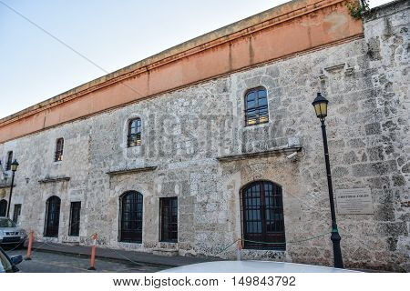 SANTO DOMINGO, DOMINICAN REPUBLIC - JANUARY 29: Last residence of Christopher Columbus in Santo Domingo. January 29, 2016 Santo Domingo, Dominican Republic.