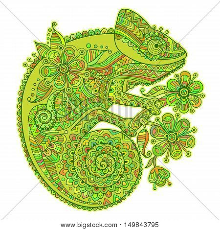 Vector illustration with a chameleon and beautiful patterns in shades of green.