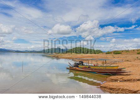 Boat at the Kaeng Krachan Dam in Kaeng Krachan National Park Thailand