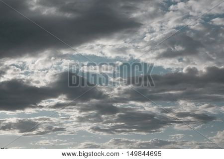Beautiful dramatic evening sky with clouds, air nature