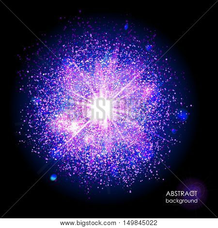 Explosion of supernova. Bright cosmic blue and magenta background. Glowing space. Bundle of energy. Cloud of dust and light on black background. Round abstract composition. Vector illustration EPS 10