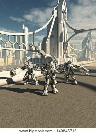 Science fiction illustration of three robot sentinels standing guard on a future city bridge, digital illustration (3d rendering)