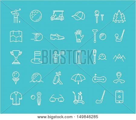 Set vector line icons with open path game golf and golf equipments with elements for mobile concepts and web apps. Collection modern infographic logo and pictogram.