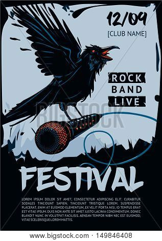Raven is holding microphone. Poster template for club, festival, concert and rock party. Grunge style.