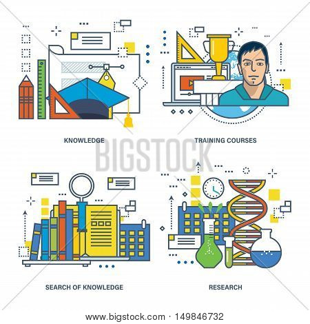 The basic concept of a set of illustrations - education, search and acquisition of knowledge, the research job, training courses. Vector illustration can be used in banners, brochures