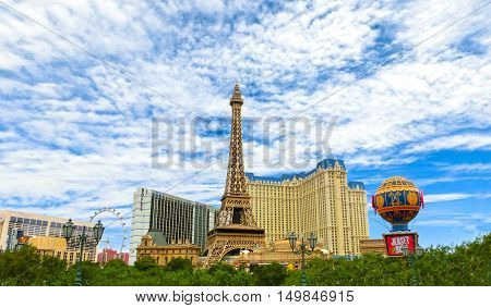 Las Vegas, United States of America - May 05, 2016: Replica Eiffel Tower in Las Vegas with clear blue sky on The Strip, the world famous Las Vegas Boulevard South