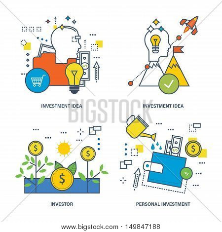The kit contains illustrations on economic issues - investment, instruments and types of investments, the investor, investment idea. Vector illustration can be used as banners, advertising