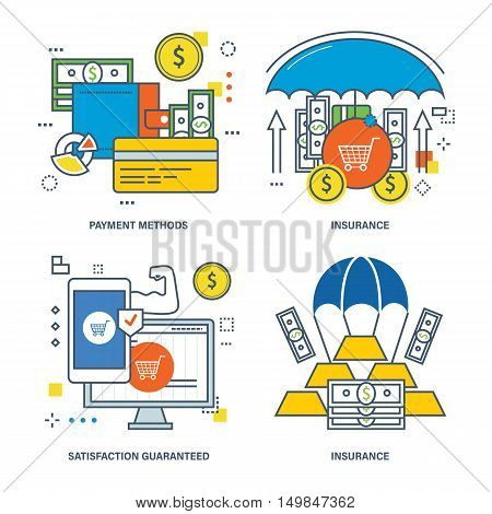 The kit contains illustrations on the theme of insurance, satisfaction guaranteed, finance and payment options. Vector illustrations can be used in banners, brochures, commercial projects.