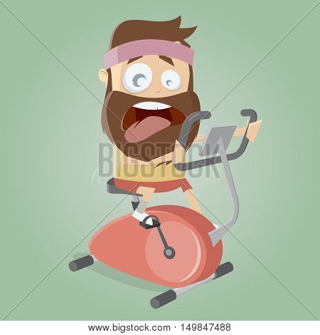 exhausted man training on indoor bike trainer