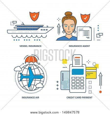 Concept of vessel insurance, air, insurance agent and credit card payment. Vector illustrations can be used in banners, brochures, commercial projects