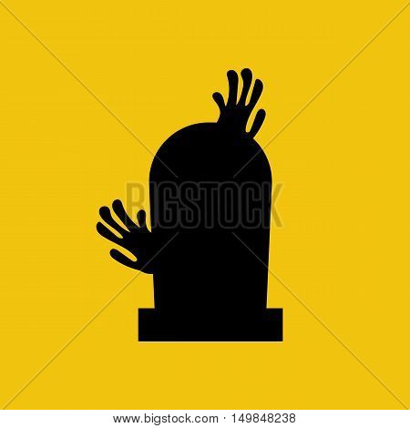Headstone and zombie hands silhouette on the yellow background. Vector illustration