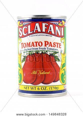 NEW YORK NY - OCTOBER 1st 2016: Tin can of Sclafani Tomato Paste - isolated