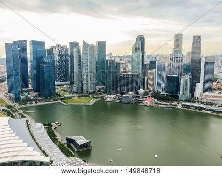 SINGAPORE, REPUBLIC OF SINGAPORE - JANUARY 09, 2014: Aerial view of the Singapore city skyline