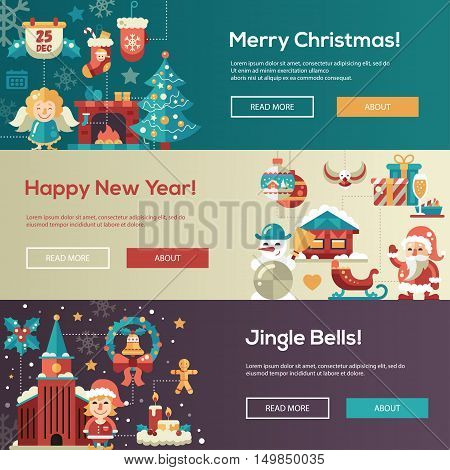 Christmas flat design modern vector website banners illustrations set. Merry Christmas, Happy New Year, Jingle Bells
