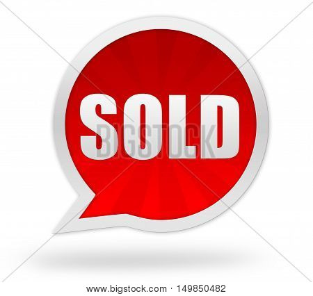 sold badge 3d illustration isolated on white background