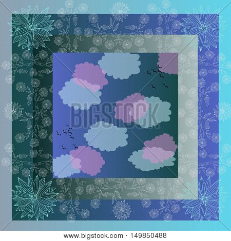 Lovely tablecloth with clouds and beautiful flowers. Bandana print or kerchief square pattern design style for print on fabric. Quilt.