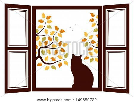 vector cat in the window and autumn trees outside the window