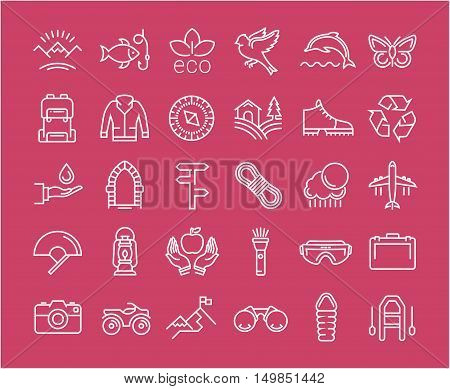 Set vector line icons in flat design eco ecotourism and recycle with elements for mobile concepts and web apps. Collection modern infographic logo and pictogram.