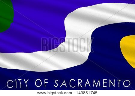 Flag of Sacramento city in California state United States. 3D illustration