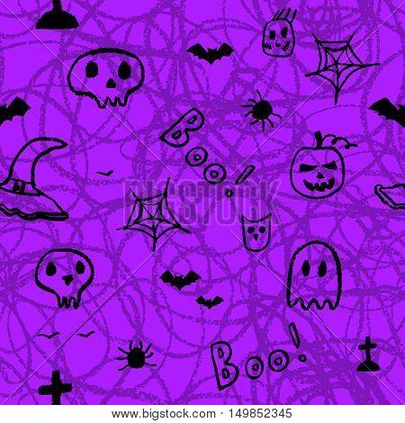 Halloween seamless pattern. Hand drawn decorative template. Doodle design element.