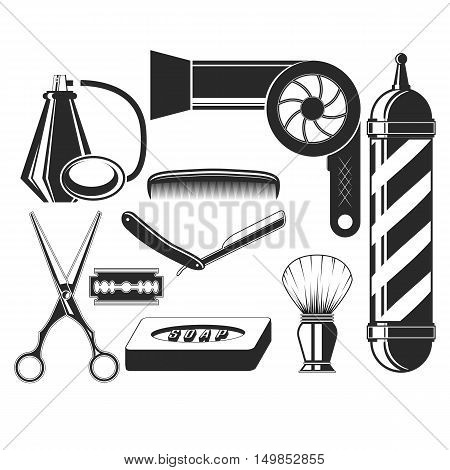 Vector set of hair salon elements in vintage style. Hair cut beauty and barber shop, scissors, blade, comb, soap, barber pole, hairdryer. Design elements, icons, badges isolated on white background
