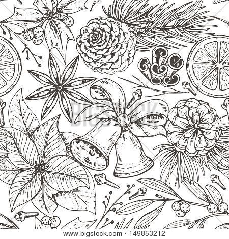 Seamless pattern with pine cones, Christmas bells, spices and citrus fruit. Hand drawn sketch vector illustration. Black and white monochrome endless background.