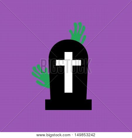 Headstone and zombie hands on the purple background. Vector illustration