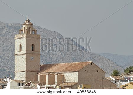 view of the church of saint peter apostle in the township of polop de la marina in the province of alicante spain