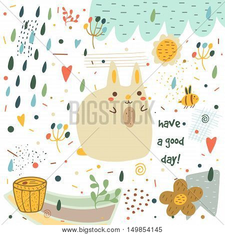Cute hand drawn doodle baby shower card postcard with rabbit flowers hearts bee honey barrel cloud rain drops plants polka dots abstract elements. Have a good day background for children