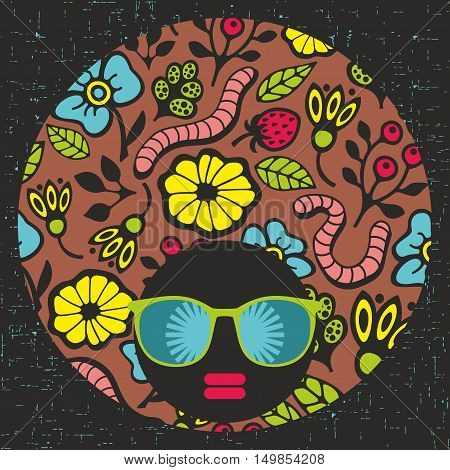 Young woman with dark skin and creative hair. Vector illustration with female portrait. Head of beautiful afro girl in sunglasses during summer time.