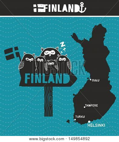 Creative Finland. Map and wooden road sign with cute owls. Vector illustration.
