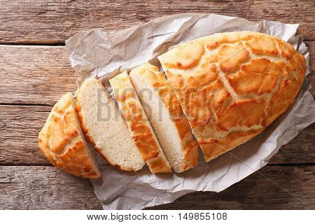 Dutch Crunch Bread Sliced Close-up. Horizontal Top View, Rustic