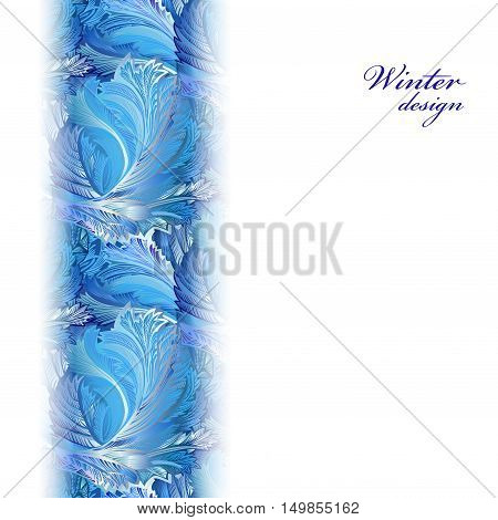 Winter holyday blue frost background. Vertical greetings banner with snow hoar frost ice. Blue, cyan and white design for winter holiday template. Frozen glass decor. Vector illustration stock vector.