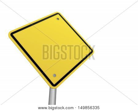 blank road sign 3d concept illustration on white background