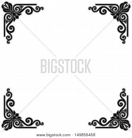 Deco frame, vintage frame, baroque frame, scroll frame ornament frame, engraving frame, border frame, floral retro frame, pattern antique frame, style acanthus frame, foliage swirl frame, decorative frame. Vector.