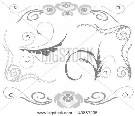 A set of fragments. The set of elements of floral ornament. Vector illustration.