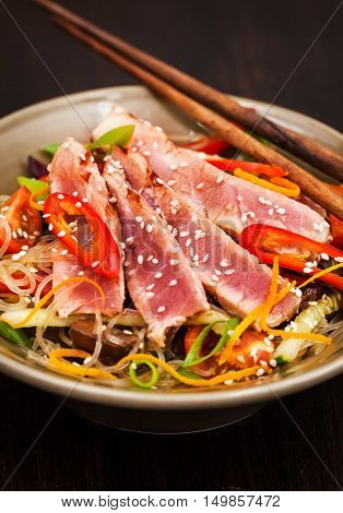 Grilled Tuna And  Asian Rice Glass Noodles With Vegetables