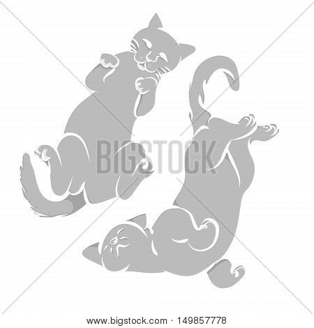 Two gray cat lying on the back abstracta vector illustration.Silhouette kittens on a white background