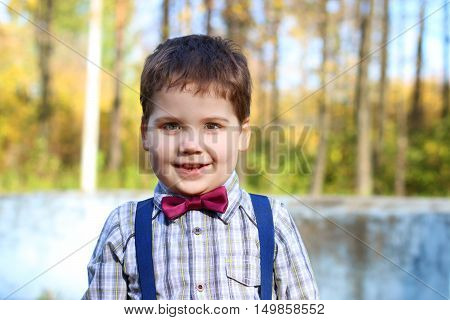 Handsome little plump boy in shirt and bow tie smiles in sunny green park