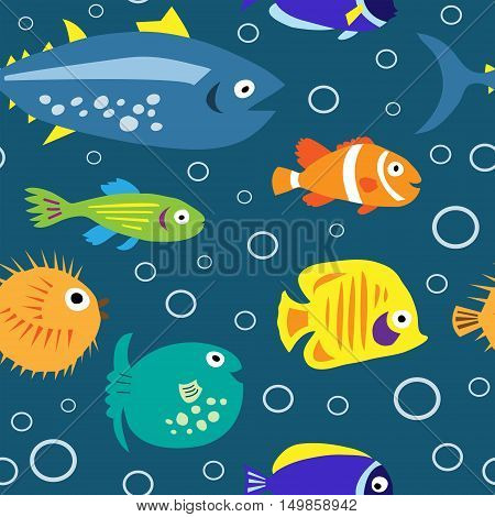 Seamless Texture With Marine Fish And Bubbles
