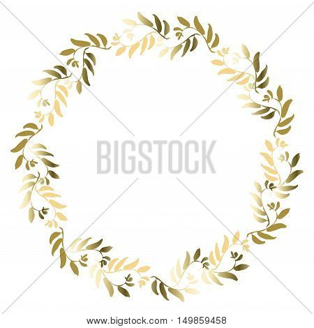 Floral gold circle frame for greeting card, invitation, wedding invitation designs. Round wreath with golden leaves with text place. Vector illustration stock vector.