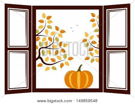 vector pumpkin in the window and autumn trees outside the window