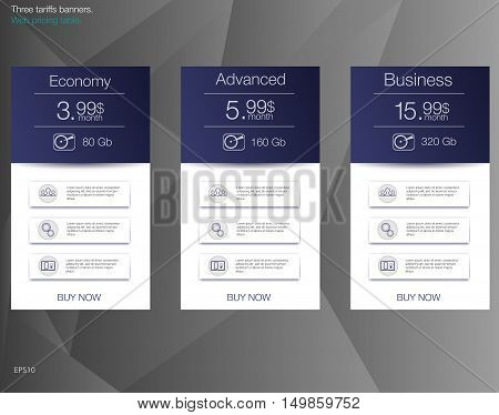 Price list for hosting banner for the tariffs and price lists. Web elements.