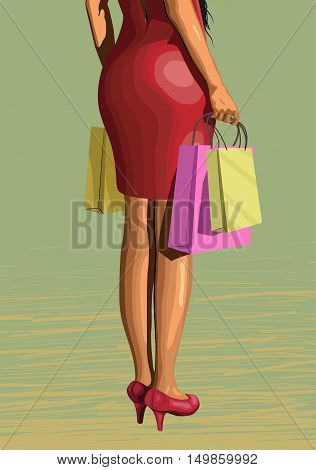 Beautiful girl lady legs woman in red dress from shopping with packages pack sun glasses sexy ass backside standing turned back. Vector closeup vertical side view illustration on green background