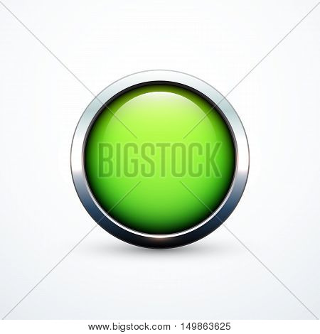 Green round button. Vector illustration eps 10