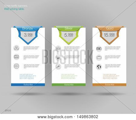Three tariffs banners. Web pricing table. Vector design for web app. Set offer tariffs. Price list.