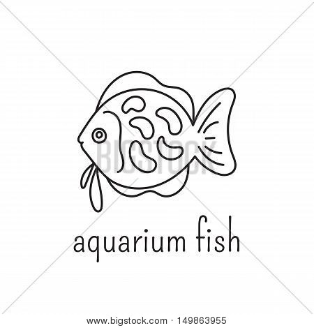 Hand drawn thin line icon, vector logo template illustration. Aquarium care isolated symbol. Tropical fish. Black on white pictogram. Simple mono linear modern design.