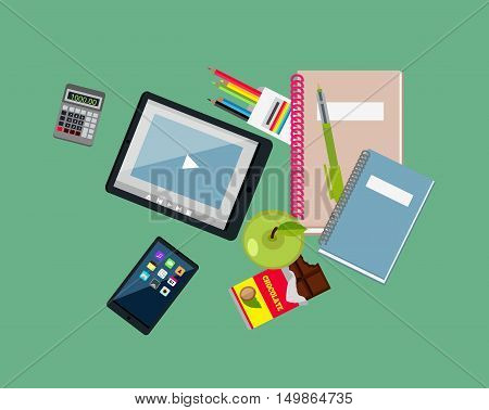 Items tablet apple notebook pen. Education icon, education concept, school education