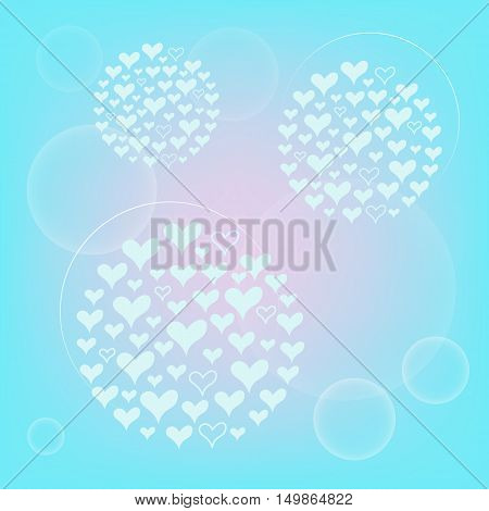 tender design with hearts on the pink turquoise background